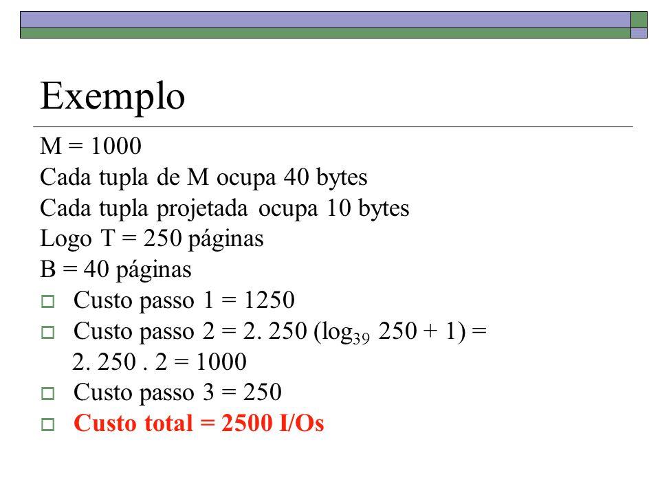 Exemplo M = 1000 Cada tupla de M ocupa 40 bytes