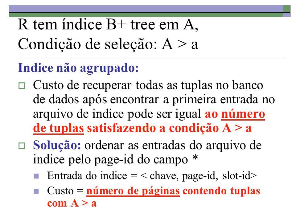 R tem índice B+ tree em A, Condição de seleção: A > a