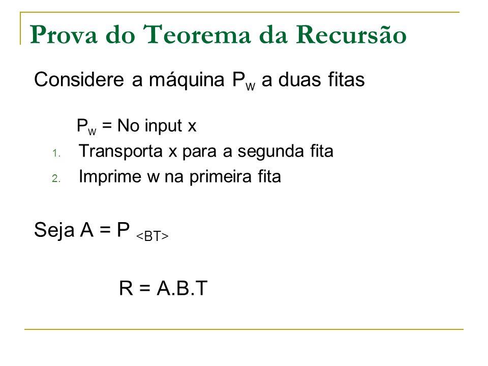 Prova do Teorema da Recursão