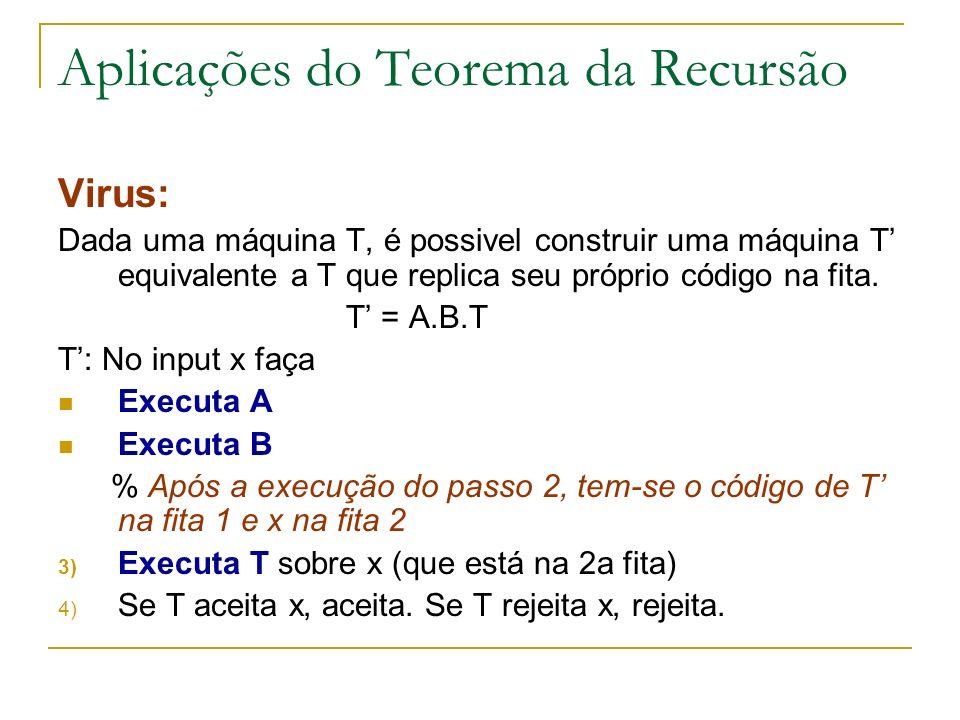 Aplicações do Teorema da Recursão