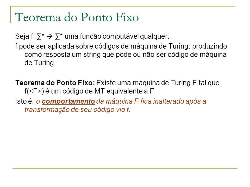 Teorema do Ponto Fixo Seja f: ∑*  ∑* uma função computável qualquer.