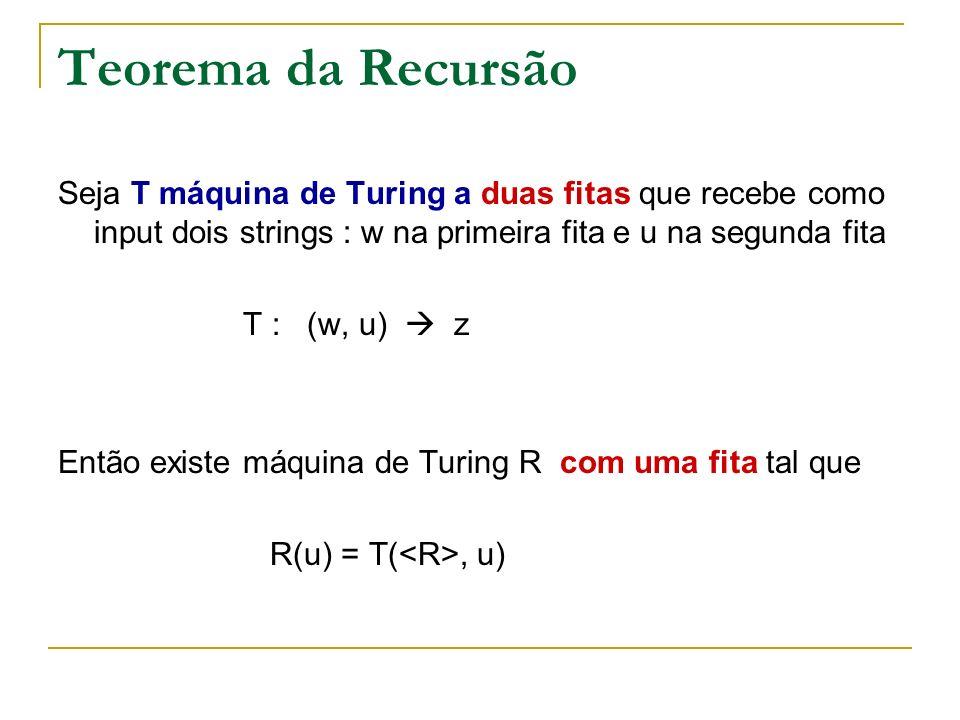 Teorema da Recursão Seja T máquina de Turing a duas fitas que recebe como input dois strings : w na primeira fita e u na segunda fita.
