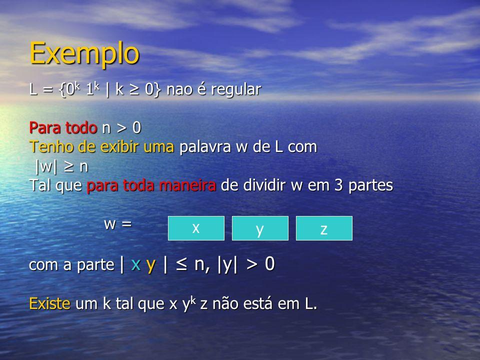 Exemplo L = {0k 1k | k ≥ 0} nao é regular Para todo n > 0