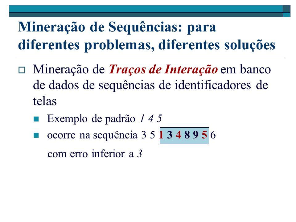 Mineração de Sequências: para diferentes problemas, diferentes soluções