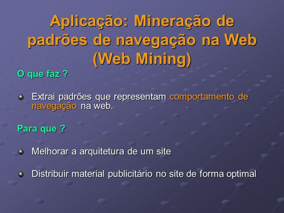 Aplicação: Mineração de padrões de navegação na Web (Web Mining)