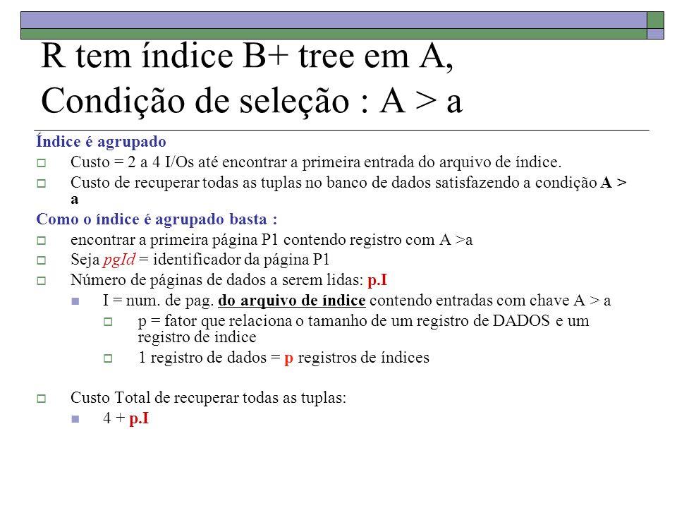 R tem índice B+ tree em A, Condição de seleção : A > a