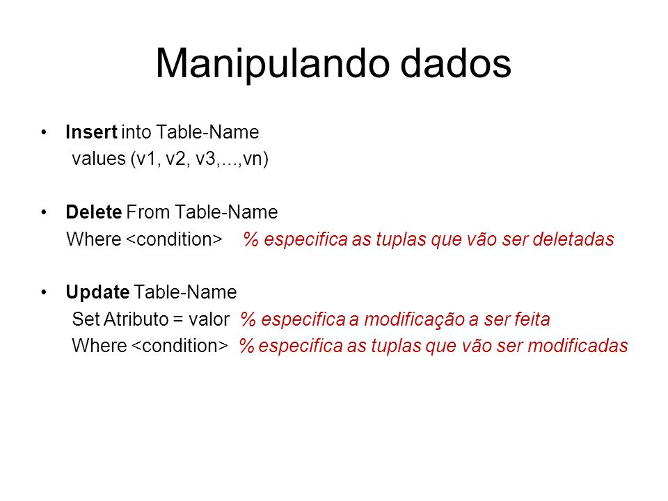 Manipulando dados Insert into Table-Name values (v1, v2, v3,...,vn)