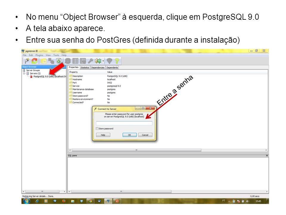 No menu Object Browser à esquerda, clique em PostgreSQL 9.0