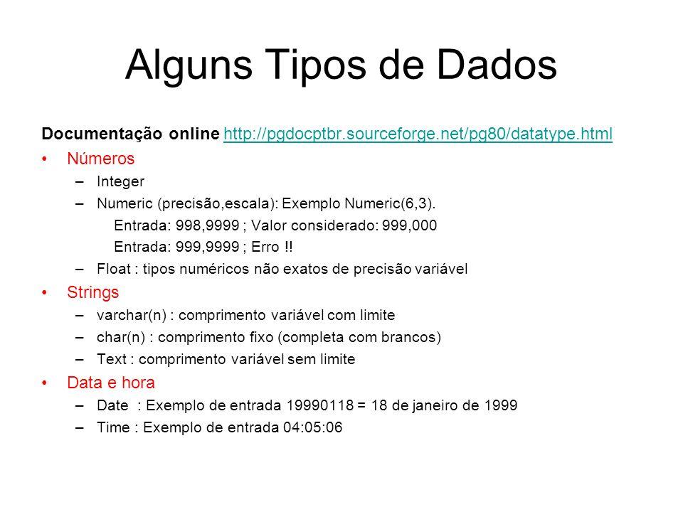 Alguns Tipos de Dados Documentação online http://pgdocptbr.sourceforge.net/pg80/datatype.html. Números.