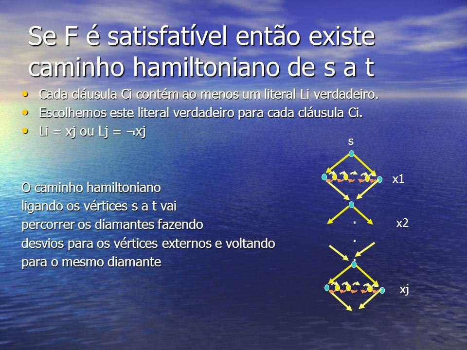 Se F é satisfatível então existe caminho hamiltoniano de s a t