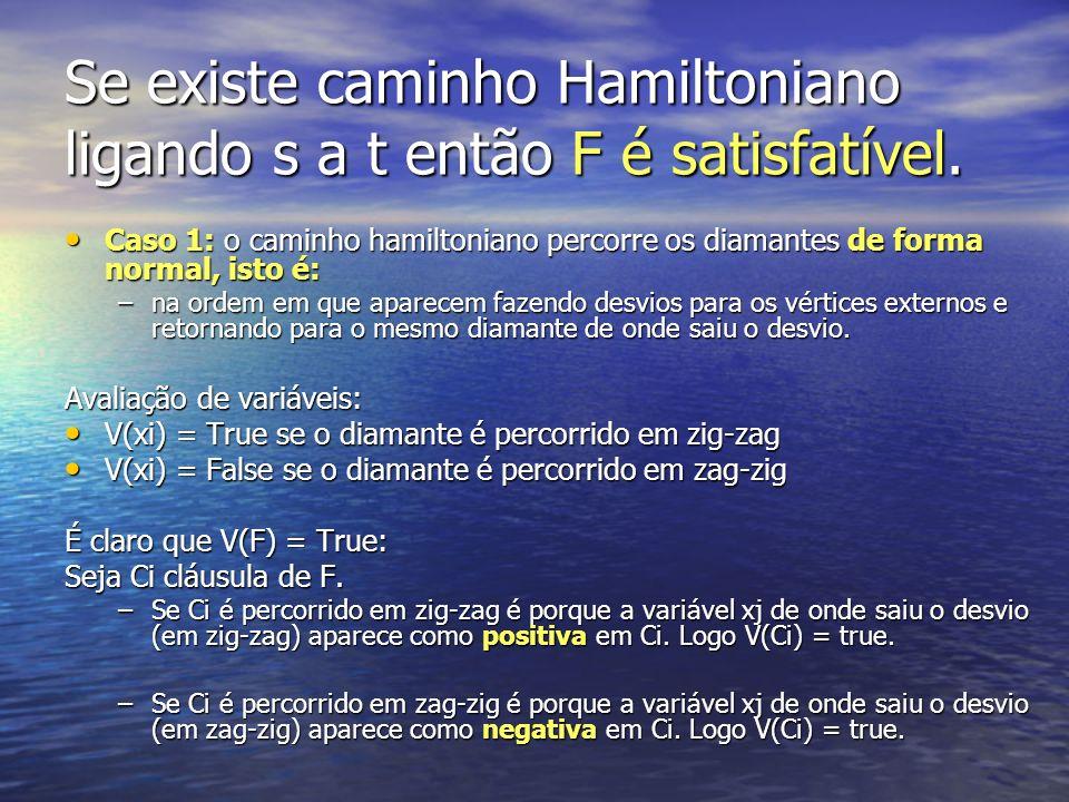 Se existe caminho Hamiltoniano ligando s a t então F é satisfatível.