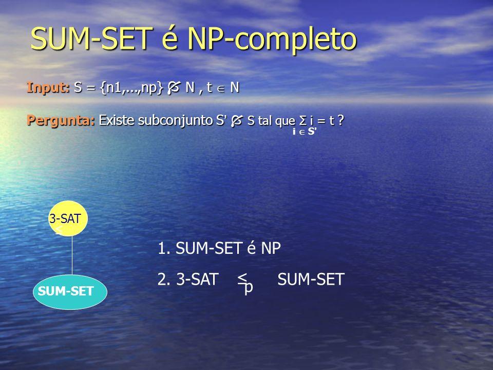 SUM-SET é NP-completo SUM-SET é NP 2. 3-SAT ≤ p SUM-SET