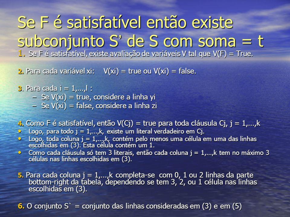 Se F é satisfatível então existe subconjunto S' de S com soma = t