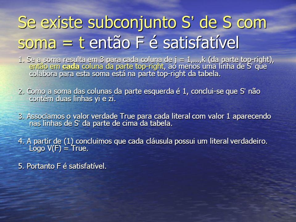 Se existe subconjunto S' de S com soma = t então F é satisfatível
