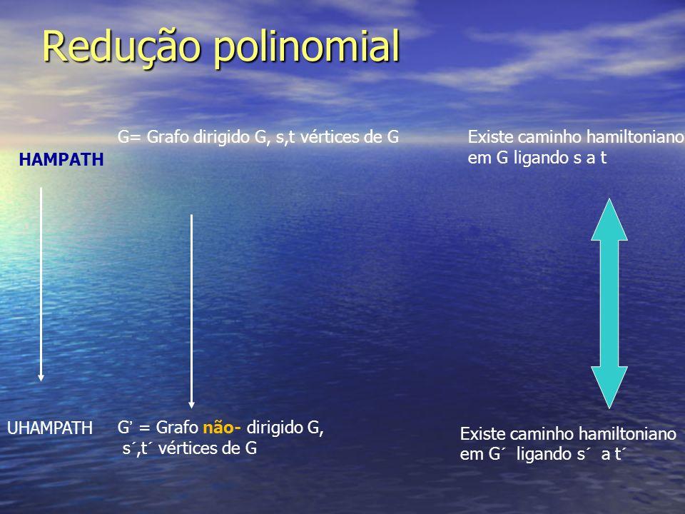 Redução polinomial G= Grafo dirigido G, s,t vértices de G