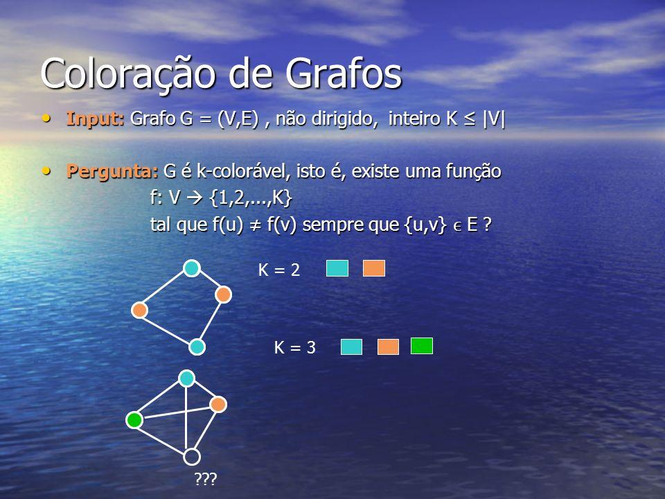 Coloração de Grafos Input: Grafo G = (V,E) , não dirigido, inteiro K ≤ |V| Pergunta: G é k-colorável, isto é, existe uma função.