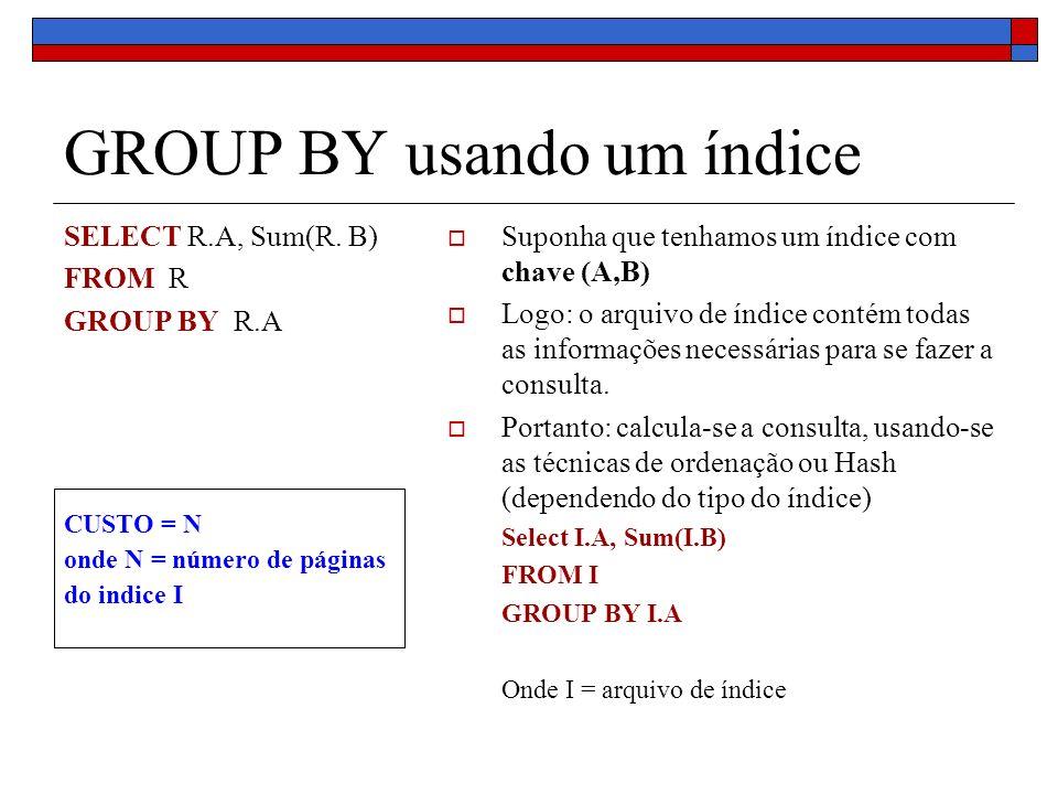 GROUP BY usando um índice