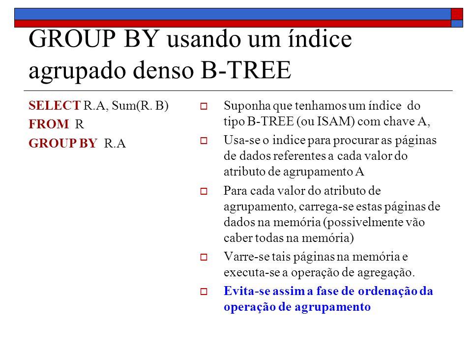 GROUP BY usando um índice agrupado denso B-TREE