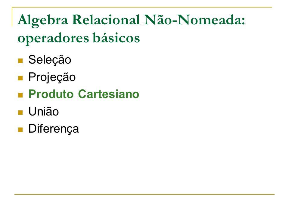 Algebra Relacional Não-Nomeada: operadores básicos