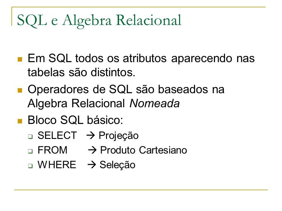 SQL e Algebra Relacional