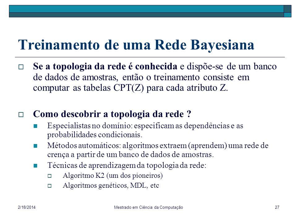 Treinamento de uma Rede Bayesiana