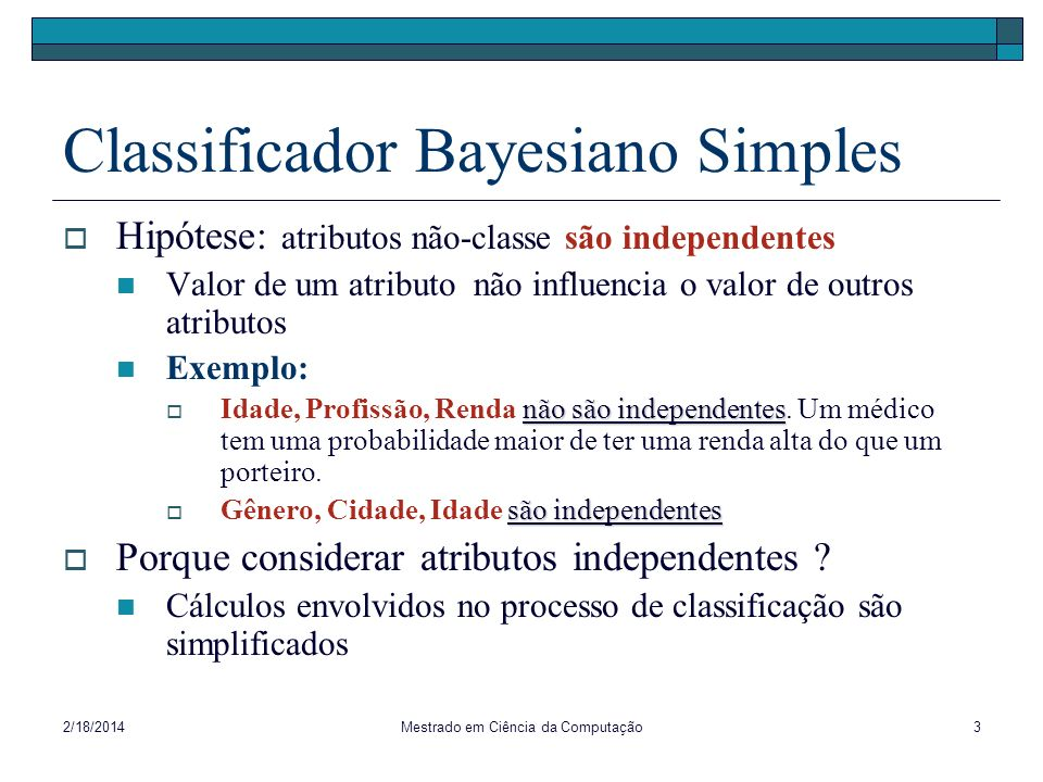 Classificador Bayesiano Simples