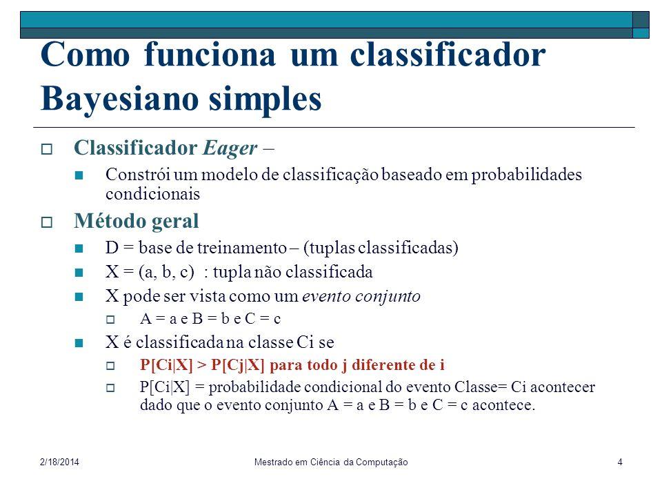 Como funciona um classificador Bayesiano simples