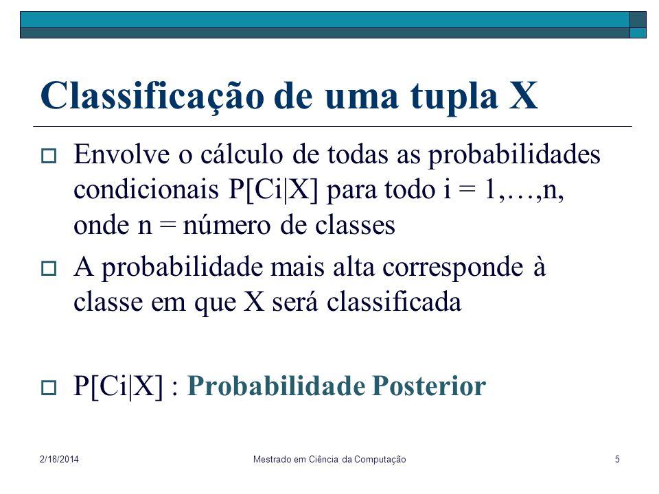 Classificação de uma tupla X