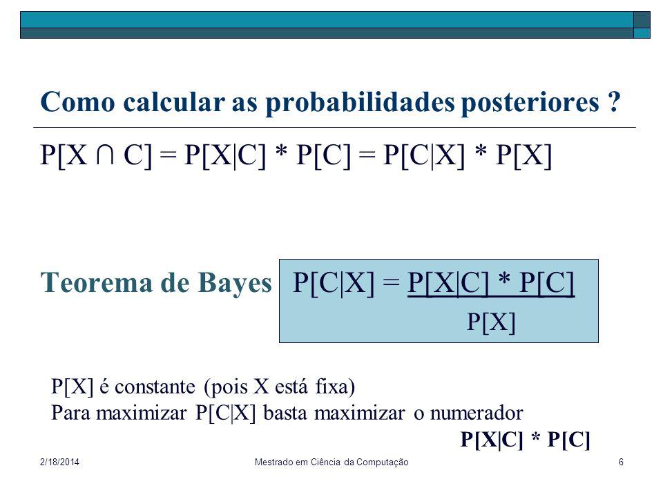 Como calcular as probabilidades posteriores