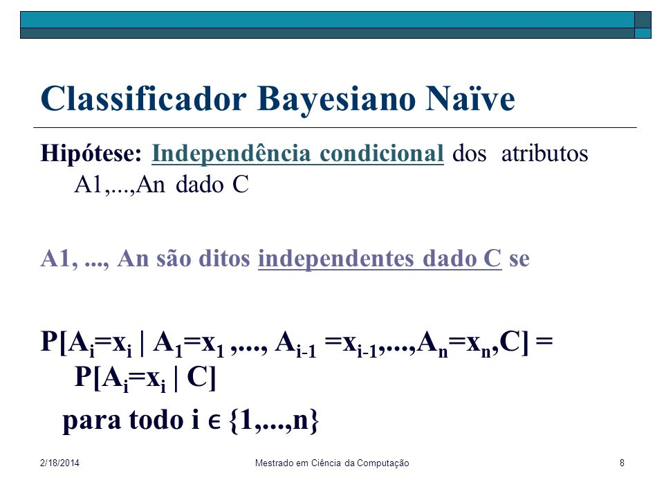 Classificador Bayesiano Naïve