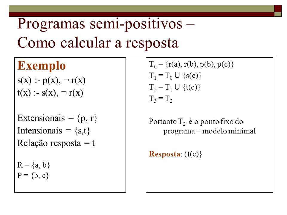 Programas semi-positivos – Como calcular a resposta