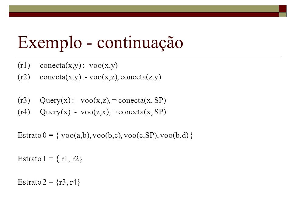 Exemplo - continuação (r1) conecta(x,y) :- voo(x,y)