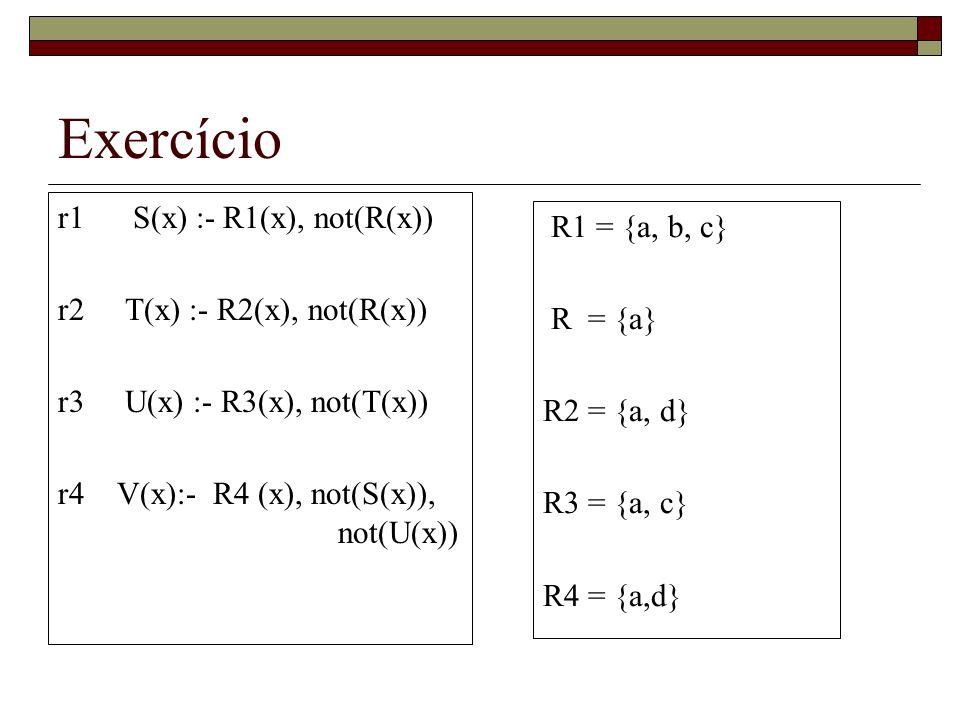 Exercício r1 S(x) :- R1(x), not(R(x)) R1 = {a, b, c}