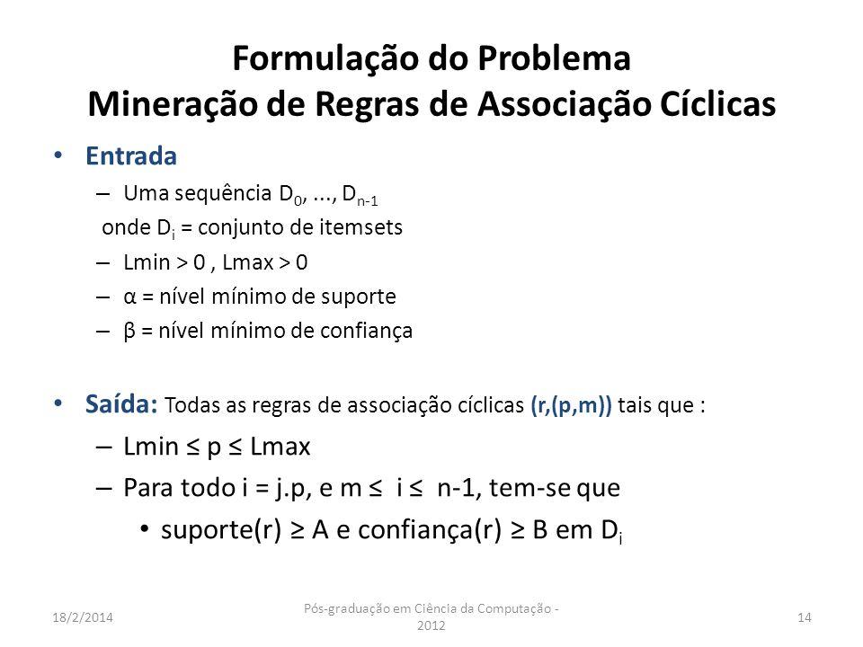 Formulação do Problema Mineração de Regras de Associação Cíclicas