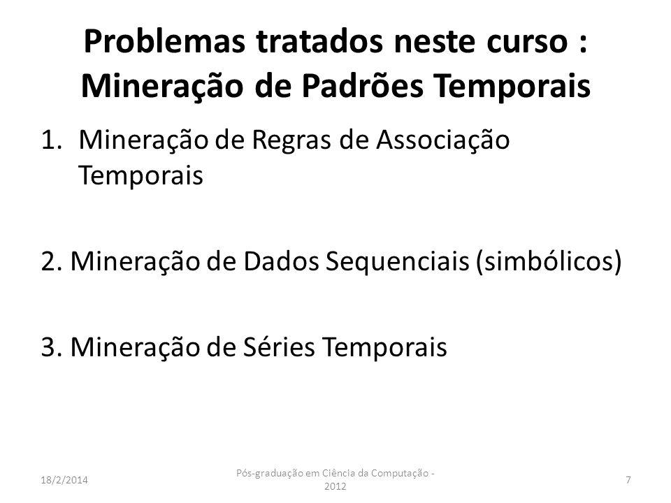 Problemas tratados neste curso : Mineração de Padrões Temporais