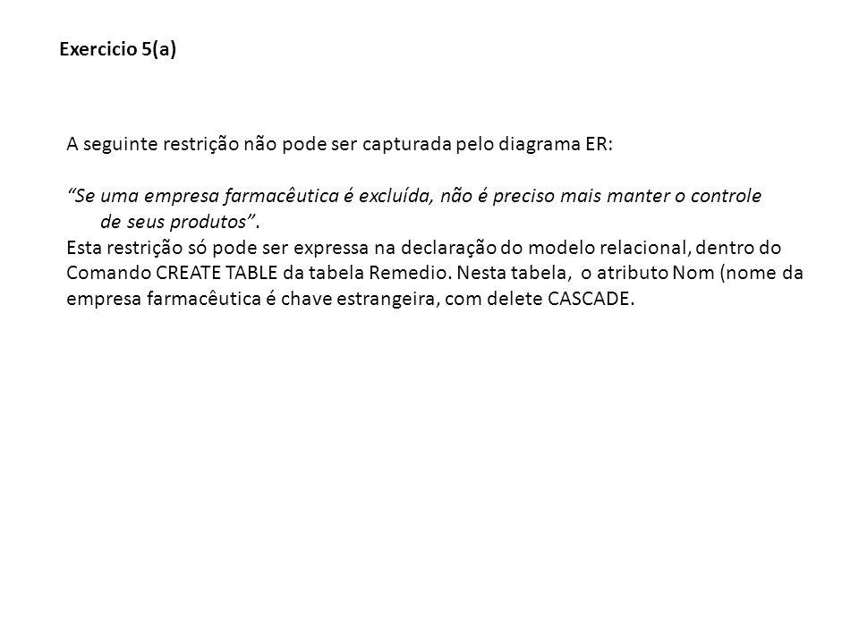Exercicio 5(a) A seguinte restrição não pode ser capturada pelo diagrama ER: