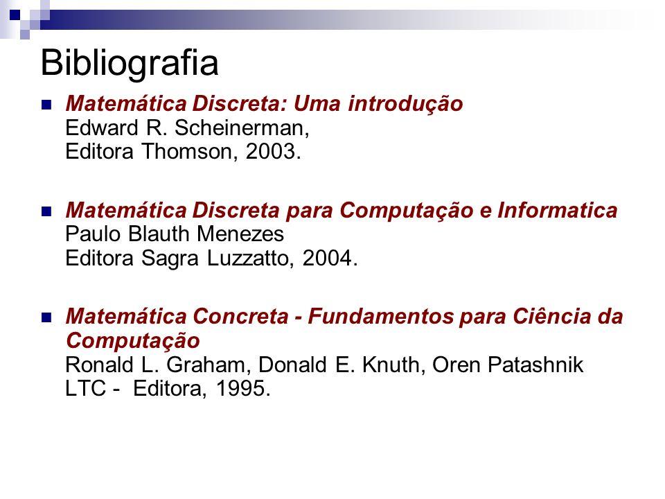 Bibliografia Matemática Discreta: Uma introdução Edward R. Scheinerman, Editora Thomson, 2003.