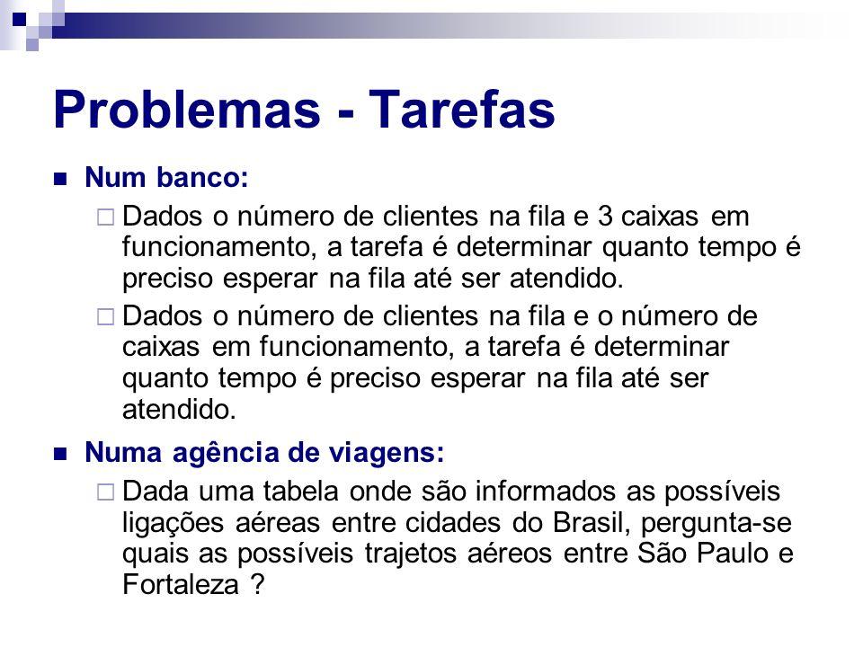 Problemas - Tarefas Num banco: