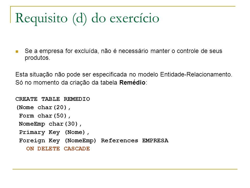 Requisito (d) do exercício
