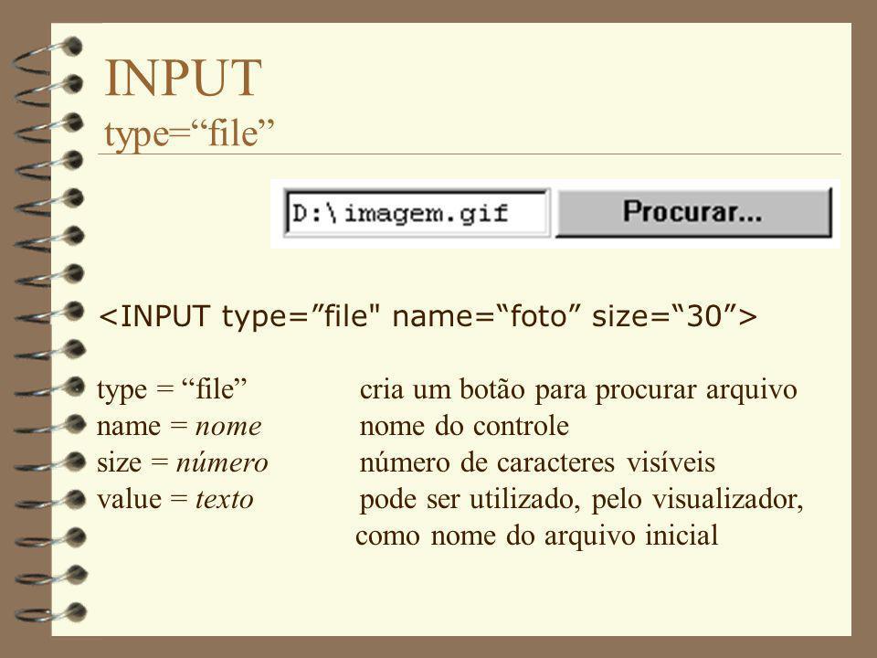 INPUT type= file type = file cria um botão para procurar arquivo