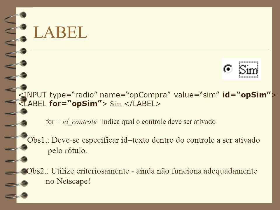 LABEL <INPUT type= radio name= opCompra value= sim id= opSim > <LABEL for= opSim > Sim </LABEL>
