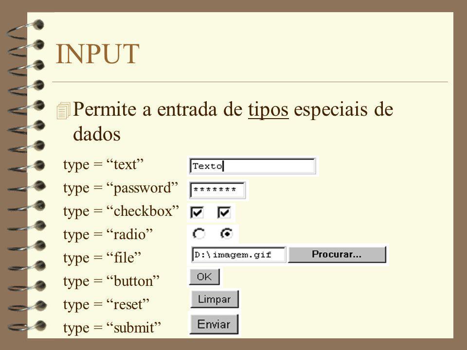 INPUT Permite a entrada de tipos especiais de dados type = text