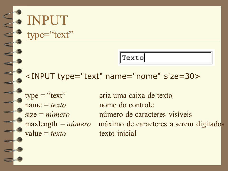 INPUT type= text type = text cria uma caixa de texto