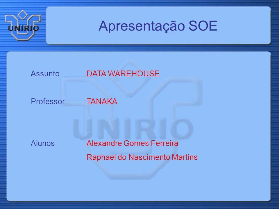 Apresentação SOE Assunto DATA WAREHOUSE Professor TANAKA
