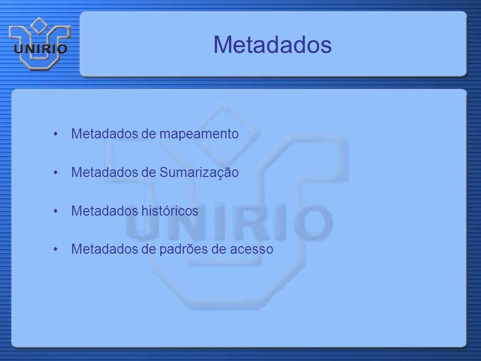 Metadados Metadados de mapeamento Metadados de Sumarização