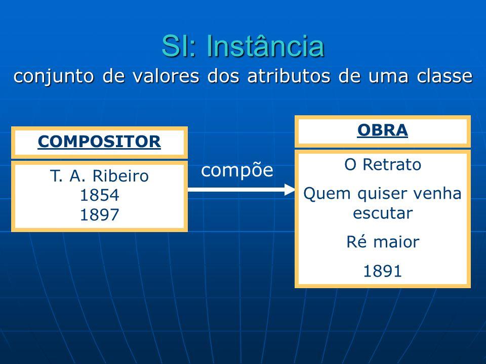 SI: Instância conjunto de valores dos atributos de uma classe compõe