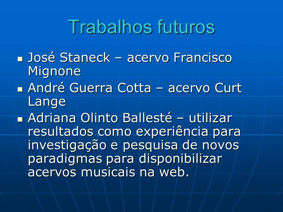 Trabalhos futuros José Staneck – acervo Francisco Mignone