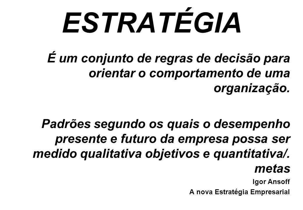 ESTRATÉGIA É um conjunto de regras de decisão para orientar o comportamento de uma organização.
