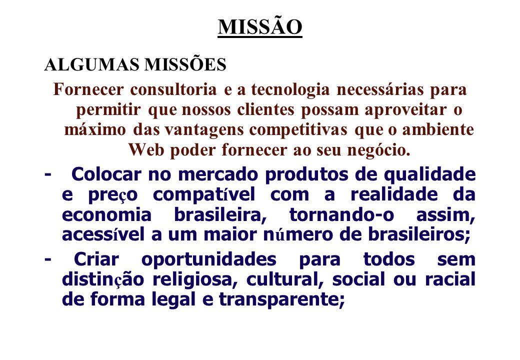 MISSÃO ALGUMAS MISSÕES