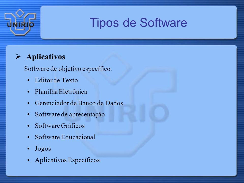 Tipos de Software Aplicativos Software de objetivo específico.